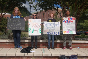 WCU students on silent protest, Sept. 23, 2016. Photo by Ashley Kairis.