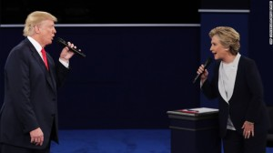 Trump and Clinton square off in the second presidential debate. Photo from CNN.