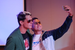 Trump and Milo supporter from Clemson University takes photo with Yiannopoulos. Photo by Ashley Kairis