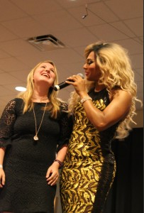 Host Shangela brings audience members on stage to get to know them. Photo by Imani Stewart.
