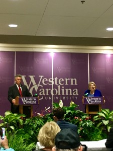 Republican Incumbent Jim Davis(left) and Democrat Jane Hipp(right) debated at WCU, October 27, 2016. Photo by Chad Grant.