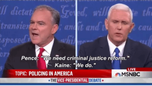 Mike Pence and Tim Kaine agree of criminal justice reform in the Vice Presidential debate. Photo Courtesy of U.S. Justice Action Network