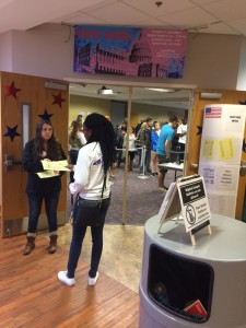 Student volunteer, Kristina White, helping students get prepared to vote, Oct. 27, 2016. Photo by Amber Degree.