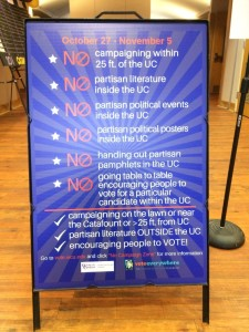 no campaigning allowed at WCU UC. Photo by amber Degree.