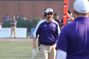 Coach Mark Speir on the sidelines of Saturday's game. Photo by Calvin Inman.