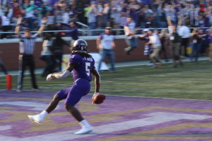 Terryon Robinson walking in the touchdown that pushed the WCU back in front of VMI. Photo By Calvin Inman