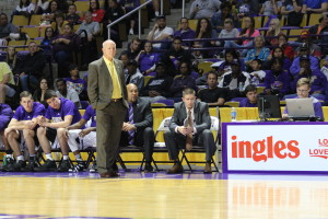 Coach Hunter awaiting a free throw shot. Photo by Calvin Inman.