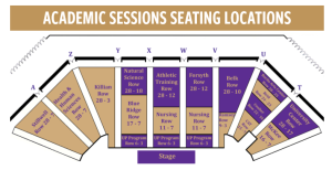 Layout of seating in the Ramsey Center arena by academic session. Photo courtesy of