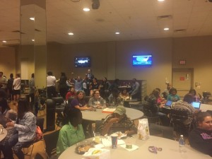 WSU students watching as the results come in earlier in the night. Photo by Mick Cauthen.